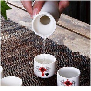 Japanische Sake Set, 7 Stücke Sake Set handgemalte Design Porzellan Keramik traditionelle Keramikbecher Handwerk Weingläser Sqcgyx