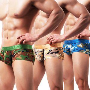 2020 Underwear Men's Trunk Camouflage Printed Short Boxer Briefs Lightweight with Exposed Waistband