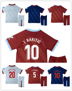 20 21 L. OCAMPOS I. RAKITIC Kids Kit Soccer Jerseys DE JONG DIEGO CARLOS VAZQUEZ Home Away 3rd Child Football Shirt Short Sleeve