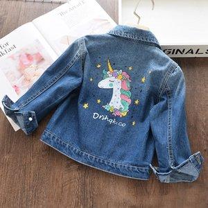 Baby Girls Jacket Spring Autumn Printing Unicorn Denim Jacket For Girl Kids Outerwear For Baby Coat Jacket Children Clothes 201118