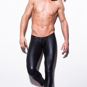 Black Faux Leather Pants Men New PU Leather Penis Pouch Pants Fashion Stage Club Wear High Quality Mens Skinny Trousers 201222