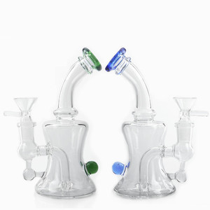 New 6Inch Glass Water Bongs With 14mm Glass Bowl Heady Beaker Bong Glass Water Pipes Dab Oil Rigs Recycler Bong For Smoking