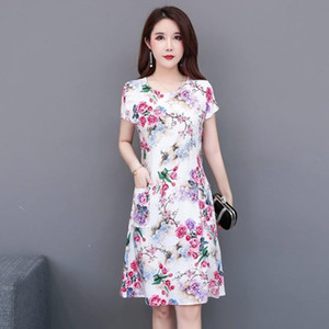 Sommerkleid A-line Größe Promotion Vestidos Mujer Frauen Kleider vanled Rundhals Kurzärmelige Baumwolle gedruckt Dünngürtel L-4XL