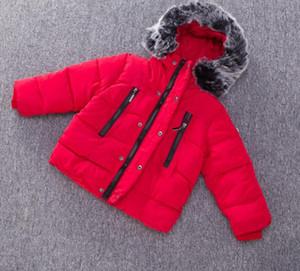 Baby Boys Girls Giacche 2018 New Winter Fashion Fur Collo Giacca Bambini Calda Felpe con cappuccio Bambini Outwear Bambini Cappotto Cappotto Ragazzi Ragazza Vestiti