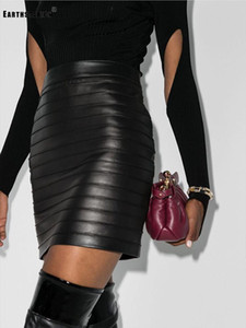 Color puro, cintura alta, artesanía pesada, cortina, ajuste apretado, cuero de la PU envuelto en cadera, falda, damas 'otoño nueva moda
