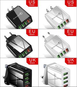 빠른 충전 3.0 USB 충전기 48W 4 포트 어댑터 QC 3.0 EU / 미국 / 영국 플러그 벽 휴대 전화 빠른 충전기 홈 벽 충전기 여행 어댑터 DHL