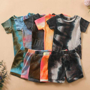 Summer Baby Soft Cotton Clothing Sets tie dye Knitted Pits Short Sleeve Top + Short Pants 2pcs set Outfits Boutique Kids Clothes DB309