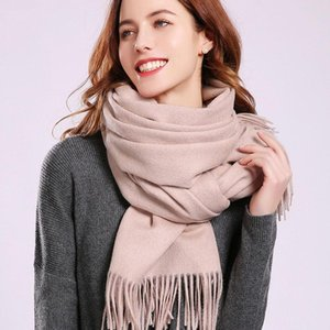 Luxury-Winter New 100% Wool Scarf Beige Neck Warmer Women Shawls and Wraps Solid Pure Wool Scarves for Ladies Cashmere Echarpe