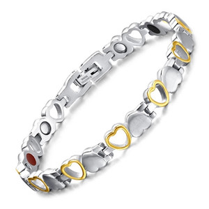 Fashion Healthy Energy Bracelet Love Hearted Design Stainless Steel Health Care Magnetic Gold Bracelet Hand Chain For Women