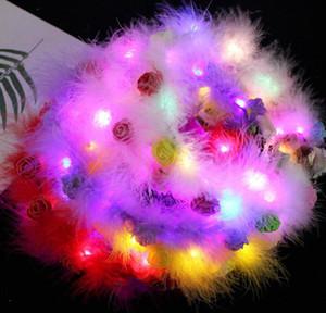 LED feather Hairband Light Eternal Garland Light Up Hair Wreath Christmas Glowing Wreath Party Flower Headband Decoration GGA3844