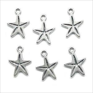 Los 100 stück Starfish Sea Star Antike Silber Charms Anhänger DIY Schmuck Erkenntnisse für Schmuckherstellung Armband Halskette Ohrringe 13 * 18mm