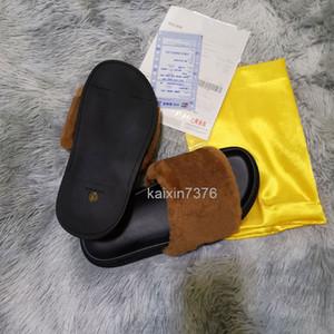 2020 Leadcat Fental Rihanna Обувь женщин Человек тапочки Крытые сандалии Девушки Мода потерты Серый мех слайды с коробкой высокого качества V380