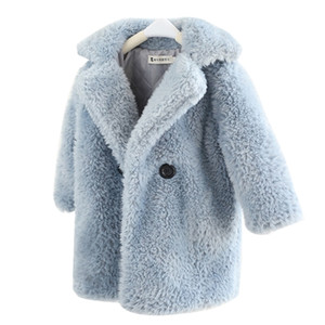 2-12 Years Children Faux Fur Coat Baby turndown collar Thicken Warm Jacket Girls Long Overcoat Winter Kids girls Casual Outwear Q1123