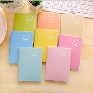 Mini Notepads Portable Notebook Candy Color Smilie Face Notepads Pocket Daily Memo Pad PVC Cover Journal Book Office Supplies FWB3268