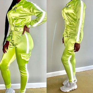 Jogging Femme Tracksuit Lounge Wear Sport Two Piece Pants Set Fall Reflective Suit With Moda Mujer 2021 Sweatsuit Women Clothes