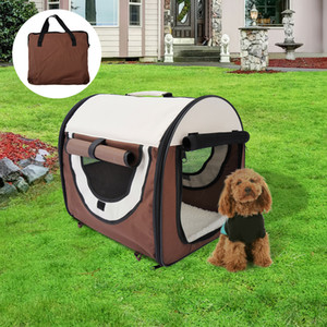 PawHut Folding Fabric Soft Pet Crate Dog Cat Travel Carrier Cage Kennel House