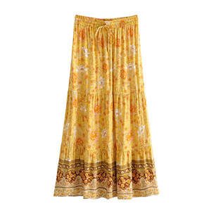 Boho Long Beach Gonna Donna 2021 Nuovo Giallo Stampa floreale Elastico Gonna in cotone Gonna Estate Bohemian Holiday Seaside Gonne Casual Gonne lunghe