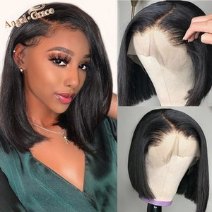 Bob Lace Front Wigs Short Bob Wig with Bangs Lace Front Human Hair Wigs Pre Plucked 4x4 Lace Closure Bob Wigs