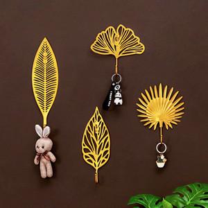 Metal Leaf Wall Decorate Hook Home Furnishing Behind The Door Shelf Coat Hooks Pure Color Key Pylons Hot Sale 4 2zl J2