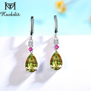 Kuololit 925 Sterling Silver Drop Earrings For Women Zultanite Ruby Gemstone Gold Color Long Dangle Fine Jewelry Christmas Gift Z1128