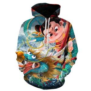 Popüler yeni 3d baskılı karikatür nezha rahat hoodie kazak