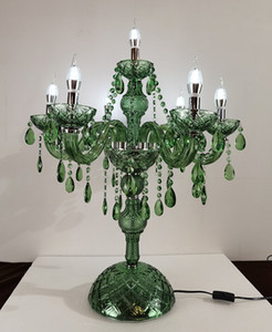 European crystal table lamps green lighting cafe decoration lamp bedroom bedside table lamp American  lamps