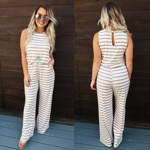 2019 Womens Jumpsuit Sexy Jumpsuit Casual Ladies Womens Striped Elastic Wiast Wid Leg Jumpsuits for Women Rompers