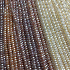 Natural Freshwater Pearl Beaded High Quality button Shape 4-5mmmm Loose Beads for Make Jewelry DIY Accessorie