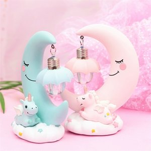 INS Unicorn Moon Ornaments Night Lights - Kids Gifts Baby Girls Bedroom Home Decor Small Table Desk Lamp Decorative
