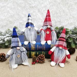 Plaid Santa Dolls Figurines Handmade Christmas Gnome Doll Plush Faceless Toy Ornaments Gifts Kid Xmas Decoration GWC2246