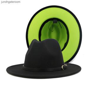 Felt Artificial 2020 Patchwork Fashion Wool Women Men Fedora Hats with Belt Buckle Double-Sided Color Flat Brim Jazz Pan