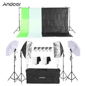 Kit Fotografia Andoer Attrezzatura per illuminazione Luce soffusa Umbrella Softbox portalampada lampadine fondali foto Studio Kit