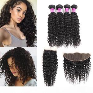Wholesale Brazilian Peruvian Malaysian Deep Wave Human Virgin Hair Vendors Weave Bundles With Lace Frontal Closure Hair Extensions Wefts