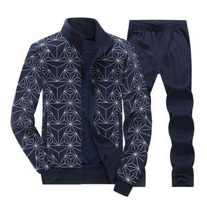 Mens Tracksuit Set 2020 Spring Autumn New Fashion Print Plus Size Track Suit Men Jacket+Pant Sweatsuit 2 Piece Set Mens Clothing