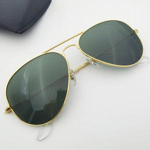 Pilot Stil Metallrahmen Doppelbrücke Design 58mm 62mm Glas Linse Männer Frauen Design Oculos de Sol Masculino Gafas mit Boxen Zubehör