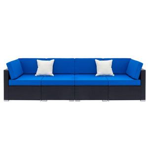 4 قطع PE Wicker الروطان أريكة مجموعة حديقة داخلي وتراس في الهواء الطلق شرفة أريكة الترفيه مجموعة أسود