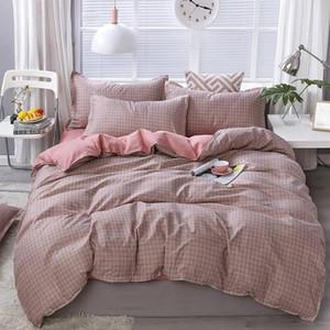 Lattice Stripe Printed Simple Solid Color Bed Cover Set Duvet Cover Adult Child Bed Sheet Pillowcase Comforter Bedding Set 61010