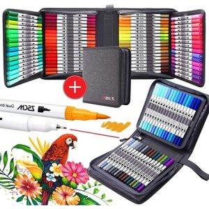12-120 Fine Liner Dual Tip Brush Pens Drawing Painting Watercolor Art Marker PensArt Supplies and Brush storage box 210226