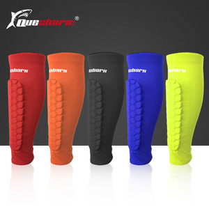 Queshark Sport Protège-tibias de football Honeycomb Compression Calf manches soutien Cyclisme Formation Caneleira Protection des jambes Q1116