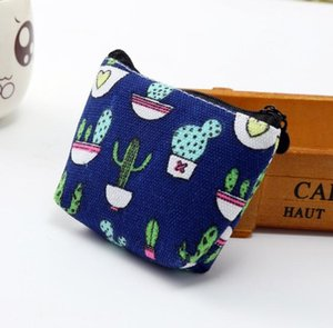 300pcs Women Canvas cactus Prints Short Min Coin Purses Mix Color