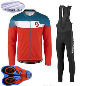 Scott Team 2021 Winter Radfahren Jersey Bike Outfits Männer Thermal Fleece Langarmhemd Langhirt BIB Pants Set MTB Fahrrad Sportkleidung 022409