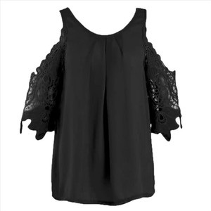 Solid Color Women Shirt Cold Shoulder O Neck female tank Tops Hollow Lacy Sleeve Pleat lady Blouse Top