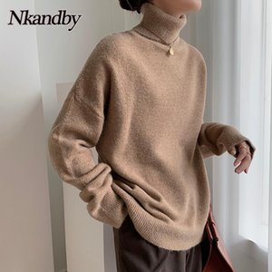 Nkandby Turtleeneck шерсть женские свитера 2020 осень зима мода свободных корейских пуловер перемычек повседневные женские вязаные вершины
