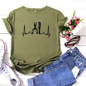 Hairstylist Heartbeat Graphic Summer T Shirts Algodón Casual Tshirt Camiseta Top Top Treal Camiseta Femme Blanco Blanco