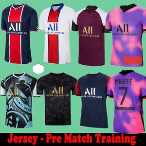 Maillots de Football Pre Match 훈련 Florenzi 20 21 Soccer Jerseys 2020 2021 MBappe Icardi Camisetas de Futbol Shirt Verratti 세트 4