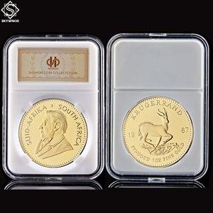 1967 Jahr Südafrika 1oz Feingold überzogene Krugrand-Replik-Token-Münze mit Display-Acrylkapsel 201125