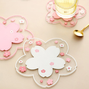 Cherry Blossom Heat Insulation Table Mat Family Office Anti-skid Tea Milk Mug Coffee Cup Desk Pad