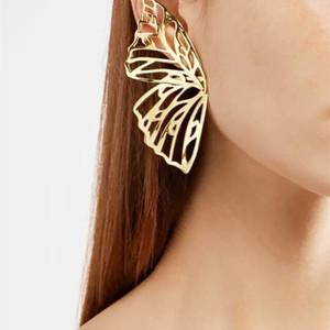 Venta caliente Hollow Big Butterfly Stud Pendiente para mujeres Metal Angel Ala Colgante Pendientes Pendientes Joyería Regalo de Navidad GWD3310