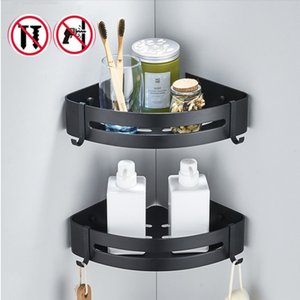 Bagno Triangolo Magazzinaggio alluminio dello spazio igienici Parete Nero storage rack Punch-libero Bagno Doccia Gel Holder