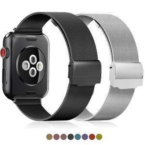 Pulseira milanesa compatível para a Série de Relógio da Apple 1 2 3 4 5 42mm 38mm Strap para iWatch Watchband 40mm 44mm Loop de aço inoxidável